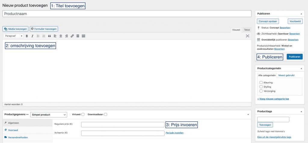 Screenshot van het productscherm in WordPress, met de genoemde stappen gemarkeerd.