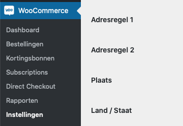 Screenshot van WooCommerce in het WordPress-menu